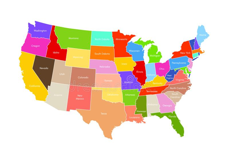 United States Of America Map. USA Vector Colorful royalty free illustration