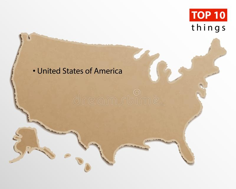 United States of America map vector. USA maps craft paper texture. Empty template information creative design element vector illustration
