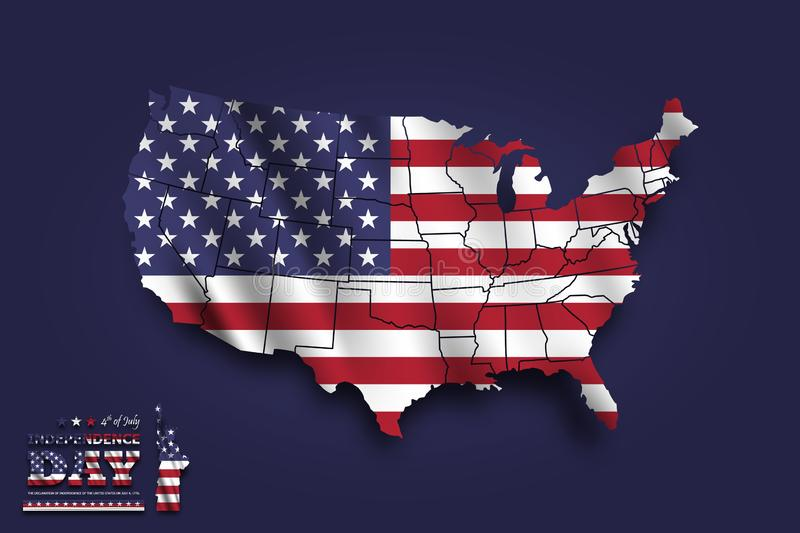 United states of america map and waving flag . 4th of July independence day concept . blue background . Vector stock illustration