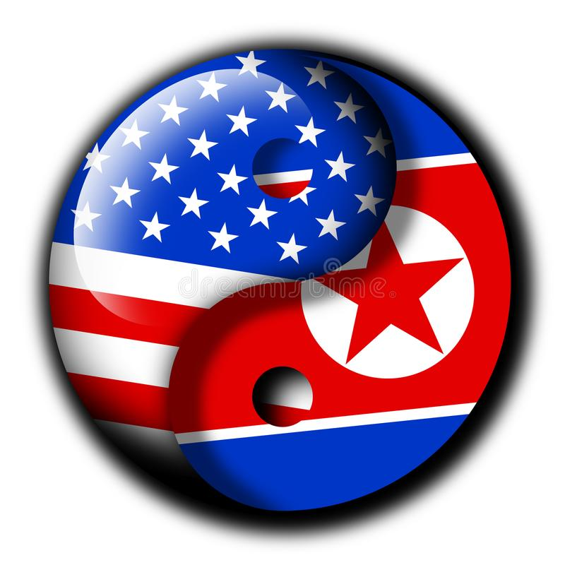 North Korea and USA Partnership. United states of America and North Korea as Yin and Yang- positive and friendly relation between states and countries. Deal royalty free illustration