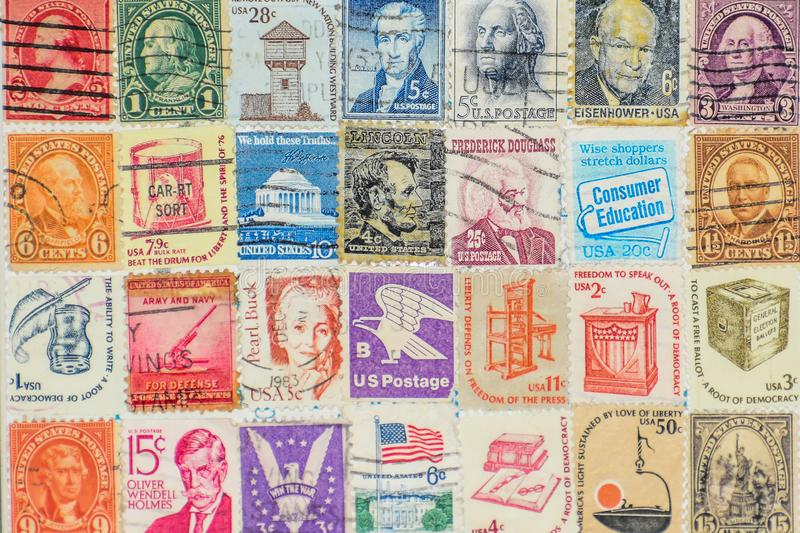 United States of America Postage Stamp Collection Background. A collection of old United States of America Postage Stamps.  Dwight D. Eisenhower, George royalty free stock photos