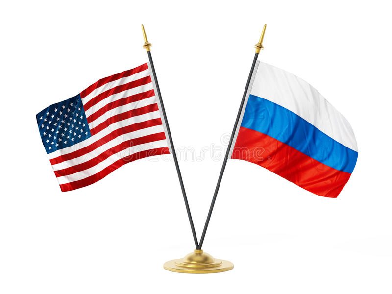 United States of America and Russia desktop flags. 3D illustration.  stock illustration