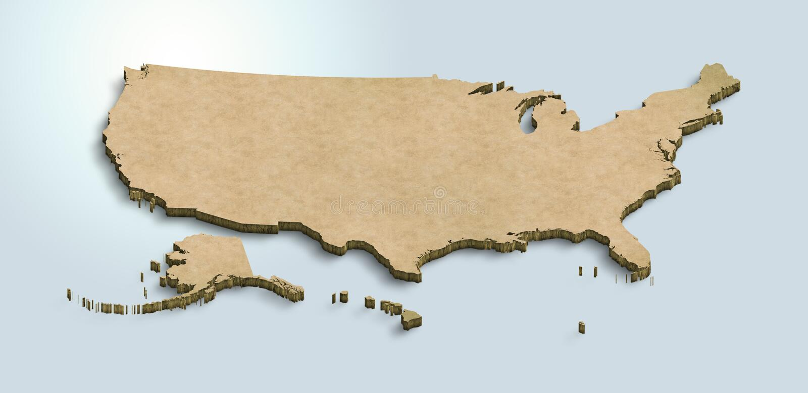 United States of America map is green on a blue 3d background. United States of America`s three dimensional green map, 3D  concept map vector illustration