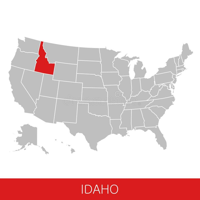 United States of America with the State of Idaho selected. Map of the USA vector illustration