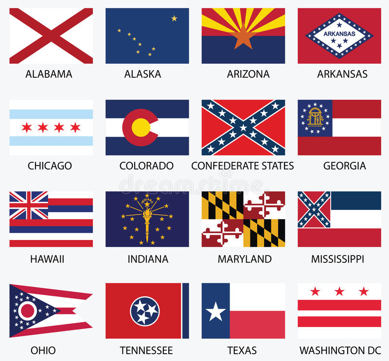 United States of America States Flags. Collection stock illustration