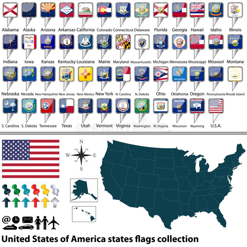 United States of America states flags collection vector illustration