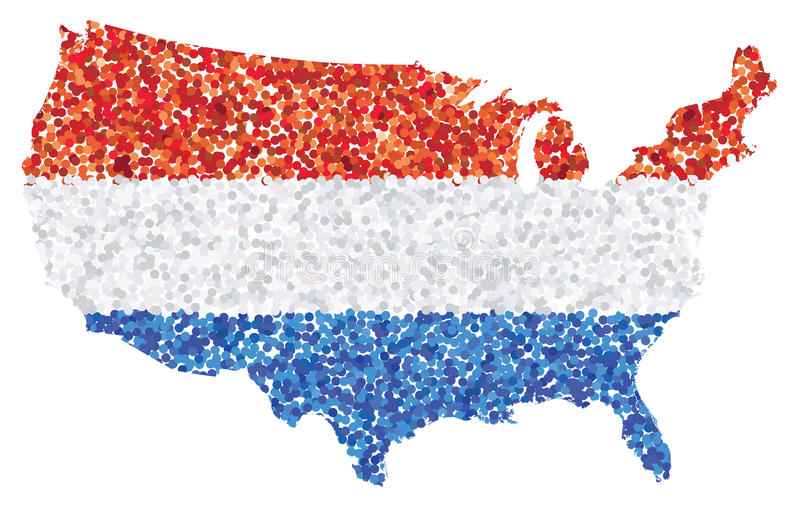 download united states of america u s a map made of red white and blue confetti