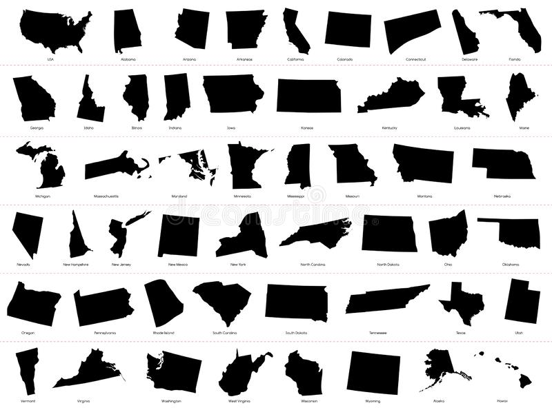 Map of The United States of America USA Divided States Maps Silhouette Illustration on White Background stock illustration