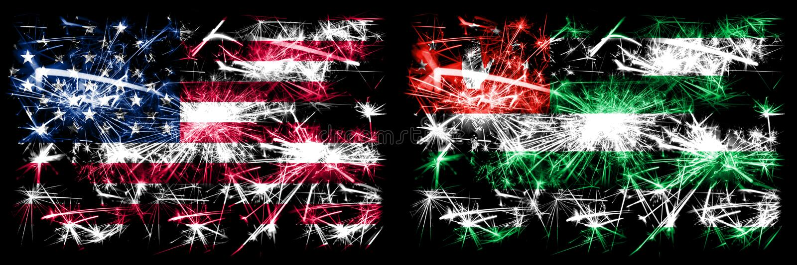 United States of America, USA vs Abkhazia, Abkhazian New Year celebration sparkling fireworks flags concept background. Combination of two abstract states stock images