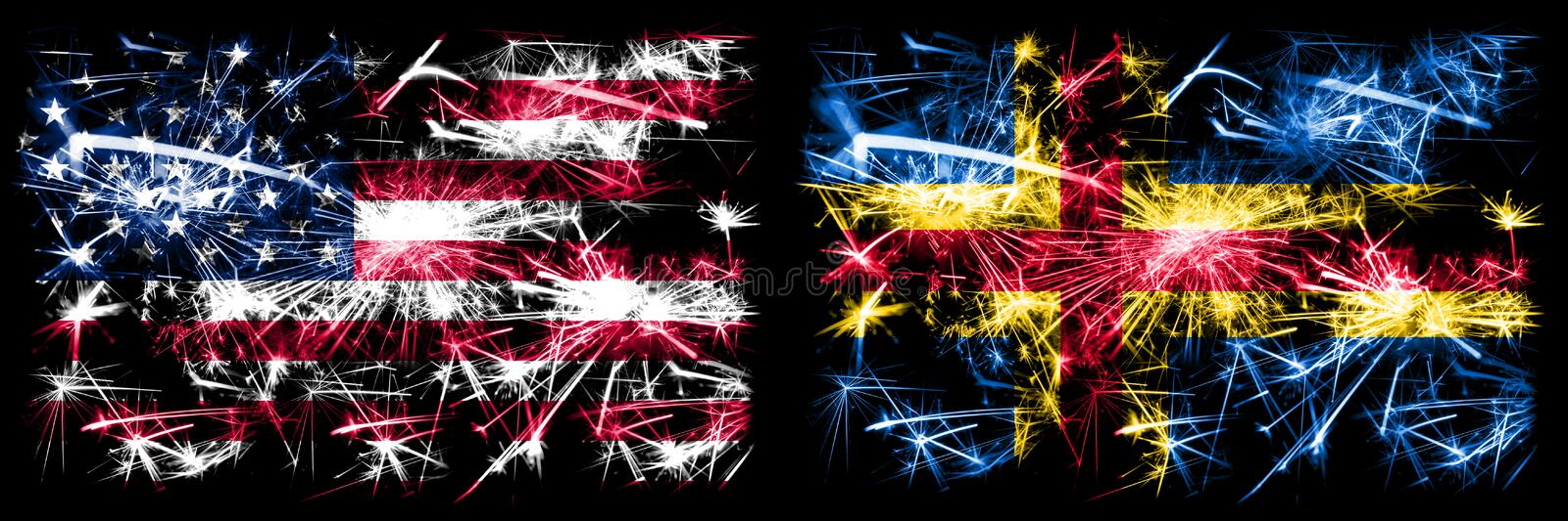 United States of America, USA vs Aland New Year celebration sparkling fireworks flags concept background. Combination of two. Abstract states flags stock images