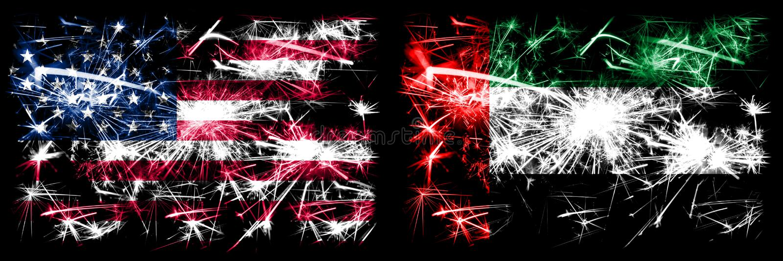 United States of America, USA vs United Arab Emirates, Emirati New Year celebration sparkling fireworks flags concept background. Combination of two abstract royalty free illustration