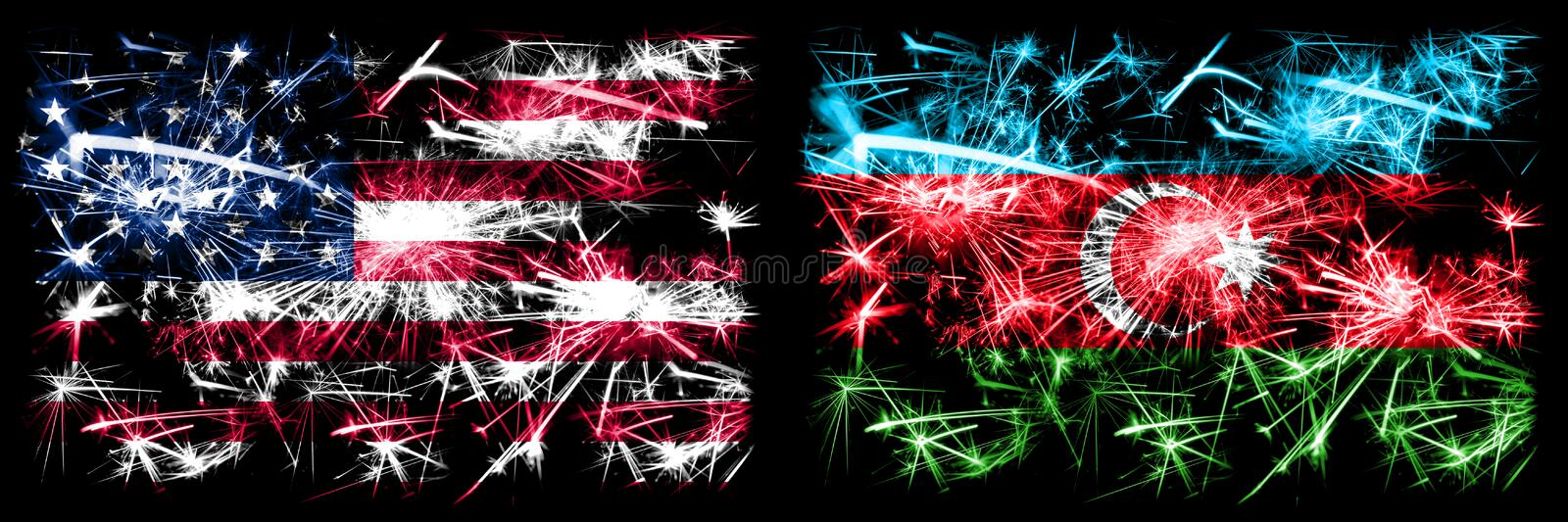 United States of America, USA vs Azerbaijan, Azerbaijani New Year celebration sparkling fireworks flags concept background. Combination of two abstract states royalty free stock images