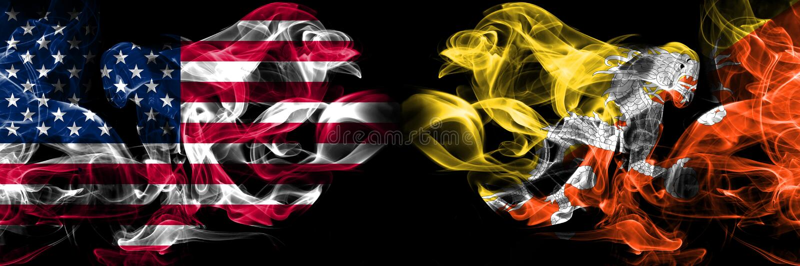 United States of America, USA vs Bhutan, Bhutanese background abstract concept peace smokes flags stock illustration