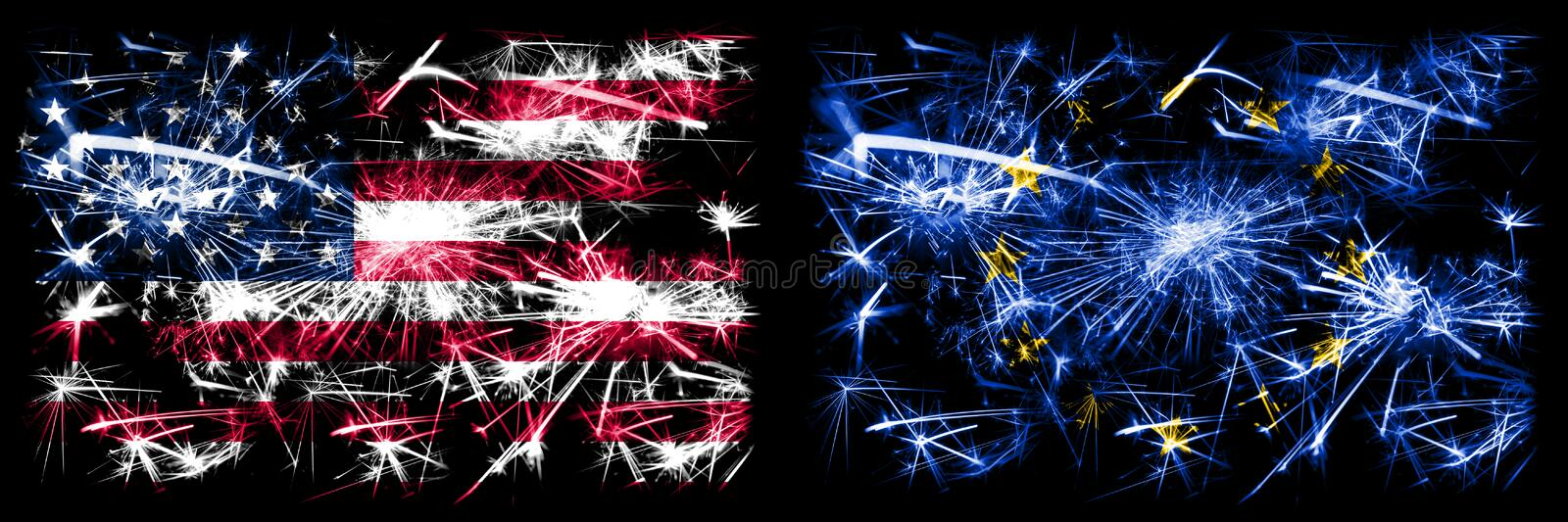 United States of America, USA vs European Union, EU New Year celebration sparkling fireworks flags concept background. Combination. Of two abstract states flags royalty free stock photo