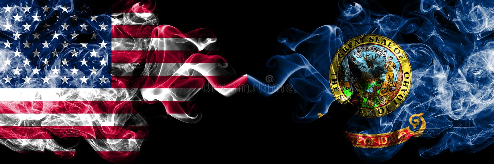 United States of America, USA vs Idaho state background abstract concept peace smokes flags.  vector illustration