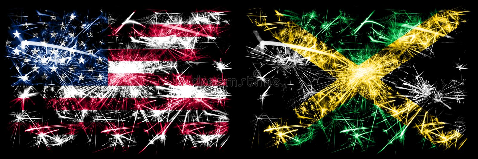 United States of America, USA vs Jamaica, Jamaican New Year celebration sparkling fireworks flags concept background. Combination. Of two abstract states flags vector illustration