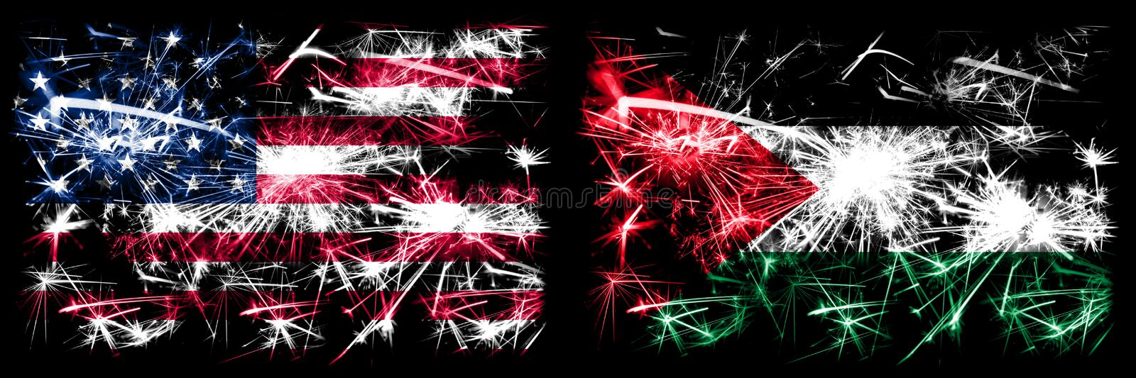 United States of America, USA vs Palestine, Palestinian New Year celebration sparkling fireworks flags concept background. Combination of two abstract states stock illustration