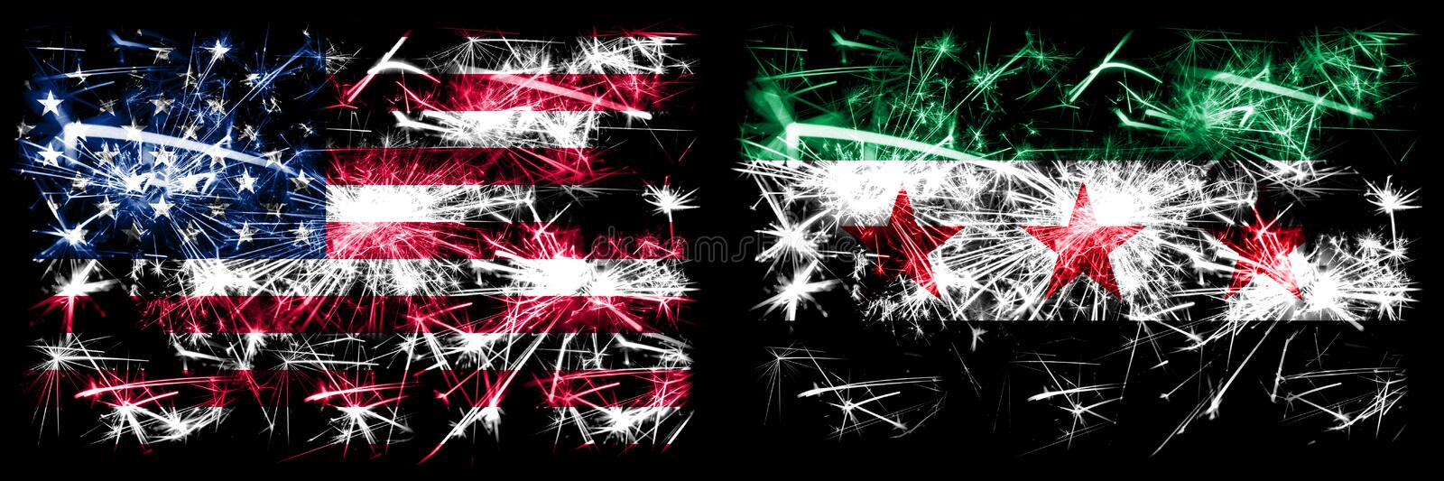 United States of America, USA vs Syria, Syrian Arab Republic, three stars, observed New Year celebration sparkling fireworks flags. Concept background vector illustration