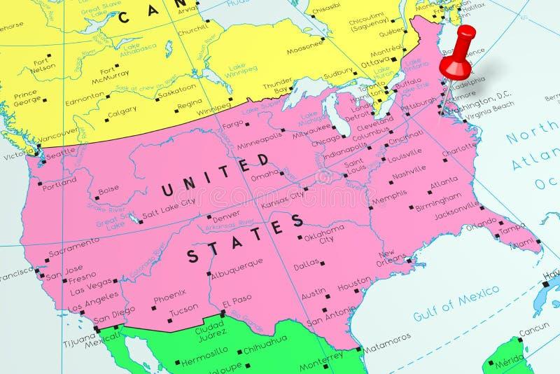United States of America/ USA, Washington D.C - capital city, pinned on political map royalty free illustration