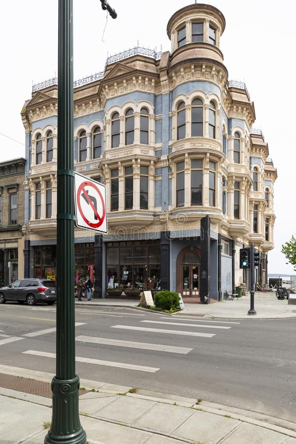 Port Townsend historic Hastings Building. United States of America, USA, Washington, Port Townsend, 839 Water St, 13th of May 2019. View on the historical stock photography