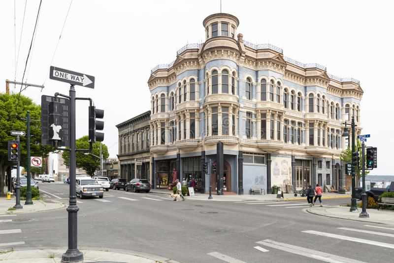 Port Townsend historic Hastings Building. United States of America, USA, Washington, Port Townsend, 839 Water St, 13th of May 2019. View on the historical stock images