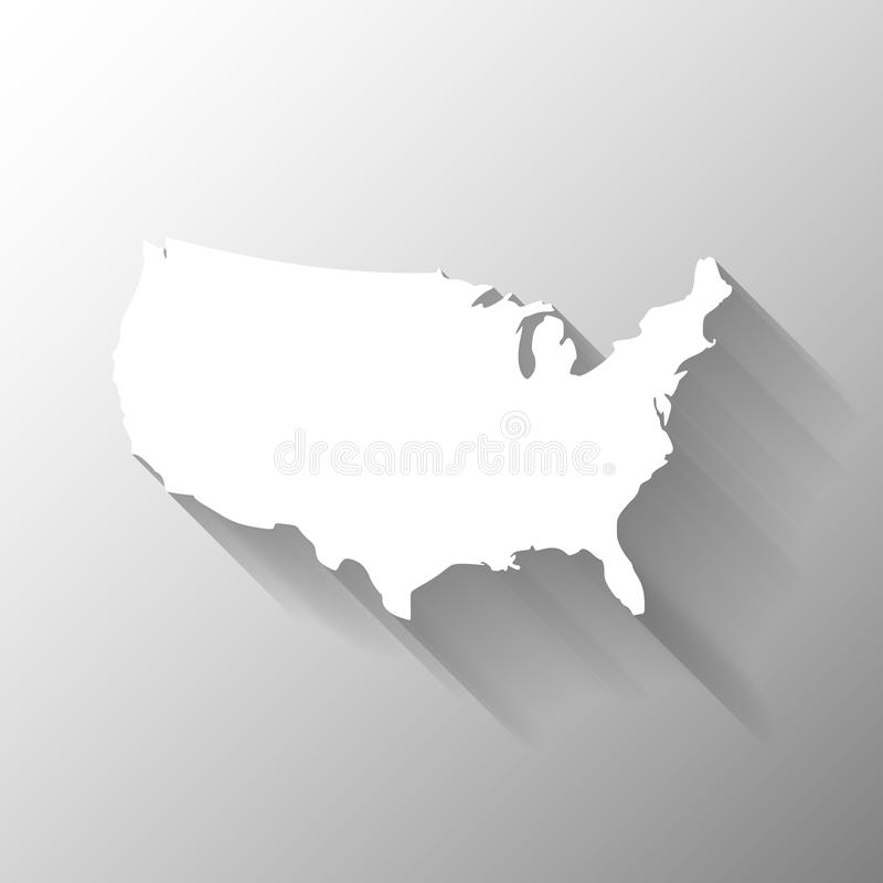 United States of America, USA, white map silhouette with gradient long shadow effect on grey background. Simple royalty free illustration