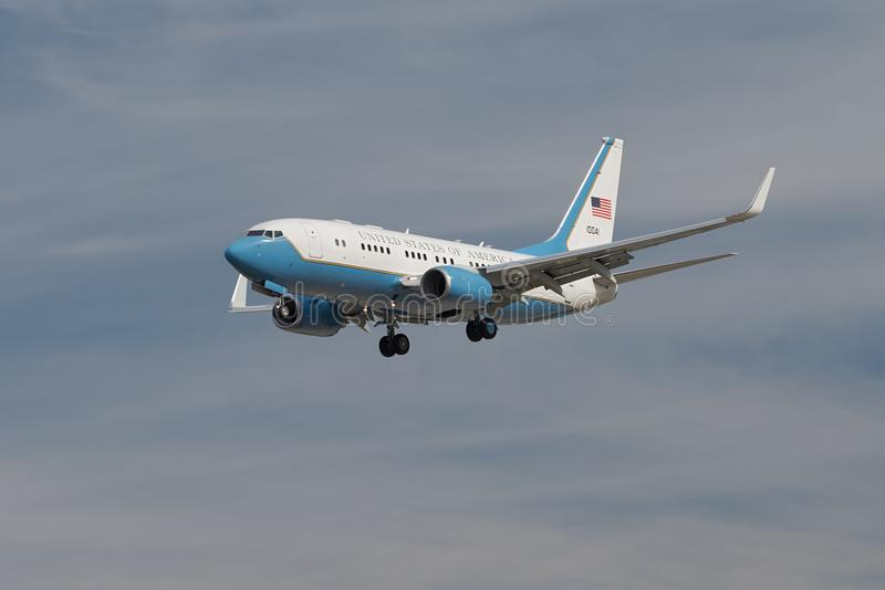 United States of America USAF aircraft. United States of America USAF aircraft Boeing C-40 Clipper approaching LAX for landing. The Boeing C-40 is a military royalty free stock photography
