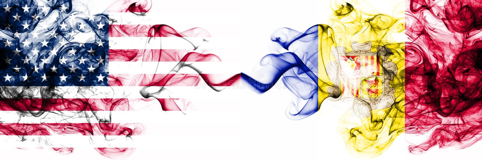 United States of America vs Andorra, Andorran smoky mystic flags placed side by side. Thick colored silky abstract smokes banner. Of America and Andorra royalty free illustration