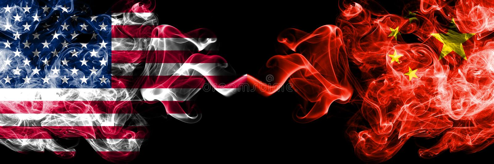 United States of America vs China, Chinese smoky mystic flags placed side by side. Thick colored silky smoke flags of America and stock illustration