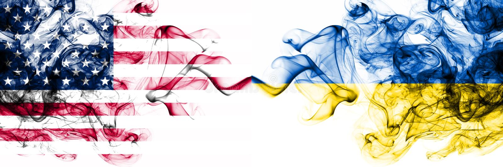 United States of America vs Ukraine, Ukrainian smoky mystic flags placed side by side. Thick colored silky abstract smokes banner. Of America and Ukraine stock illustration