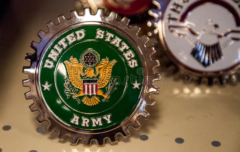 United States Army ornament displayed at the Muscle Car City museum. Punta Gorda, Florida, USA – October 13, 2019: United States Army ornament displayed royalty free stock image
