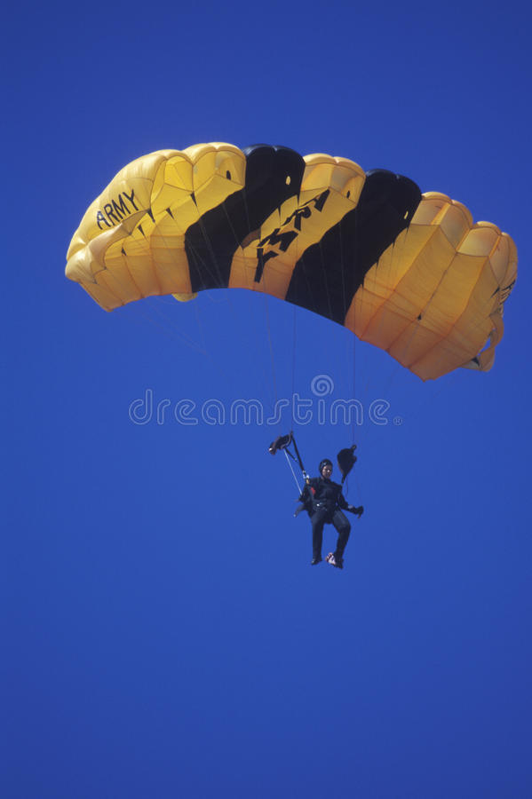 United States Army Paraglider, Van Nuys Air Show, California royalty free stock images