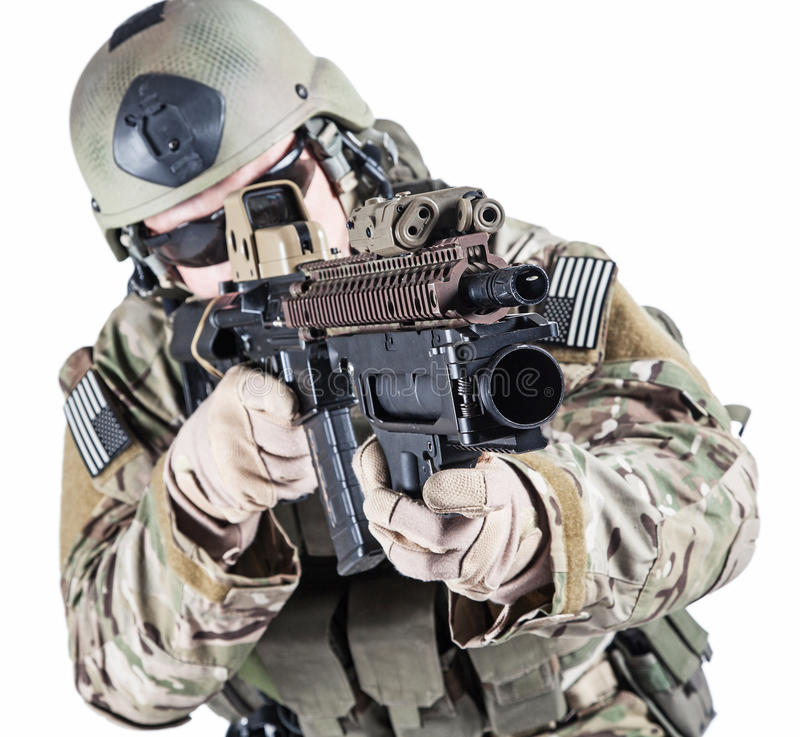 United States Army ranger with grenade launcher. United States Army ranger with assault rifle and grenade launcher stock photography