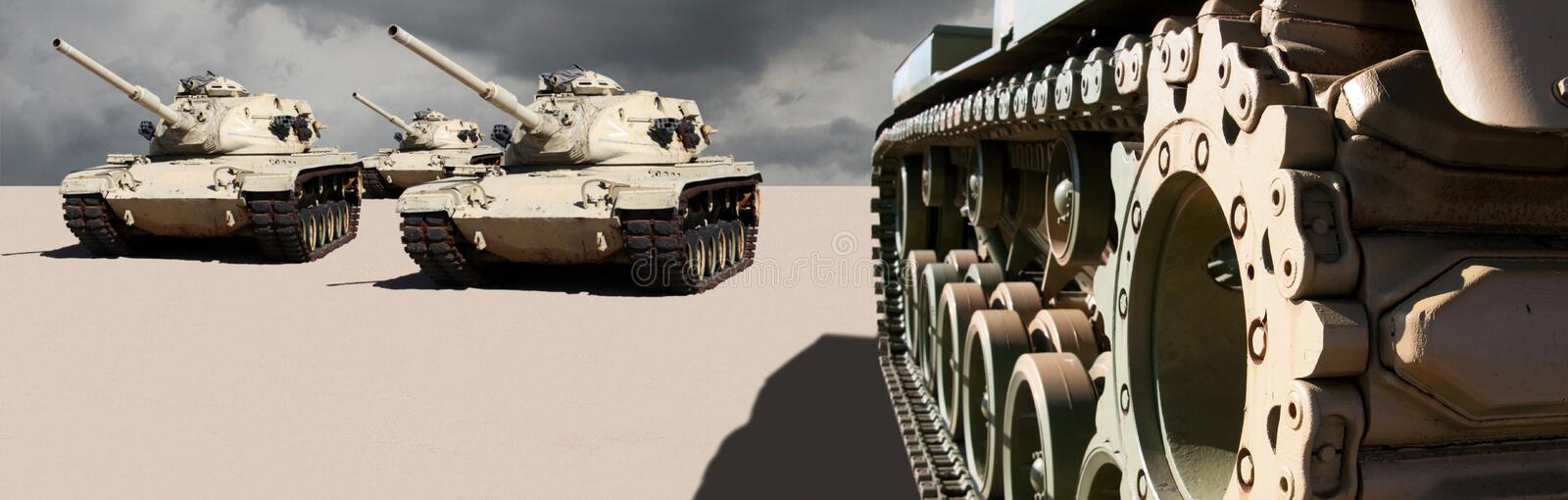 United States Army War Tanks in the Desert stock photo