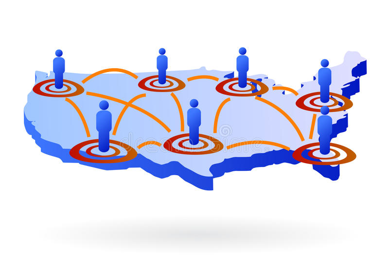 United states as network map. Illustration of united states of america as a 3d map with stylized men and network wire on it, related to communications vector illustration