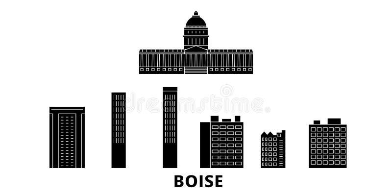 United States, Boise flat travel skyline set. United States, Boise black city vector illustration, symbol, travel sights stock illustration