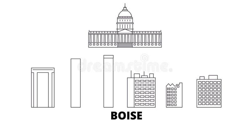 United States, Boise line travel skyline set. United States, Boise outline city vector illustration, symbol, travel vector illustration