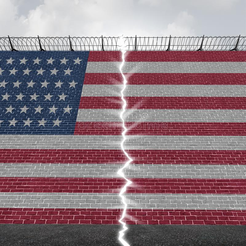 United States Border Wall Concept vector illustration
