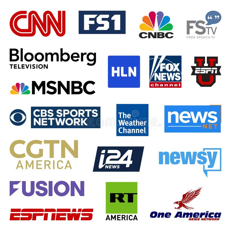 United states cable television news networks vector logo collection royalty free illustration