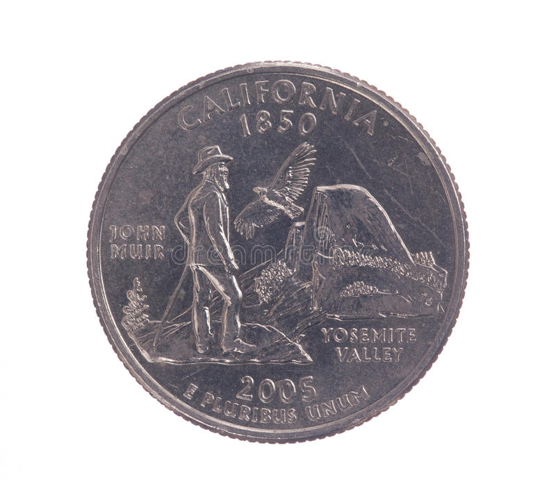 United States California quarter dollar coin. On white with path outline stock photography