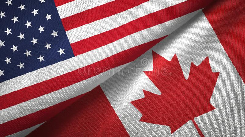 United States and Canada two flags textile cloth, fabric texture vector illustration