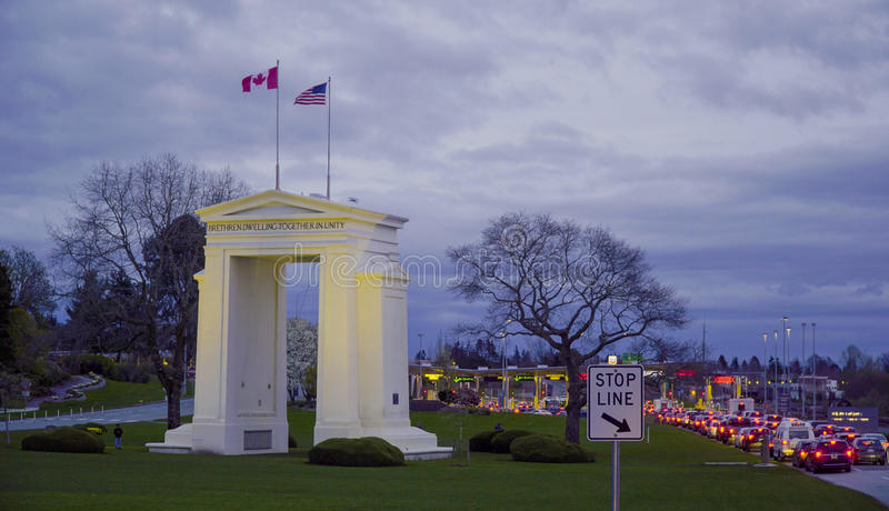 United States - Canadian Border near Vancouver - CANADA. United States - Canadian Border near Vancouver stock image