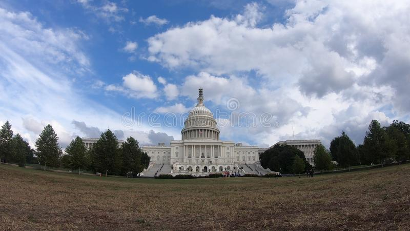 United States Capital Building, Congress Blue Sky and Light White Clouds - Washington DC Wide Angle royalty free stock images