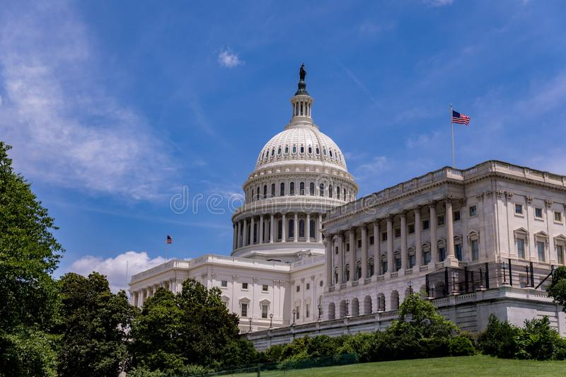 United States Capitol Building against blue sky royalty free stock images
