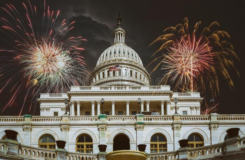 United States Capitol Building in Fireworks Washington, DC stock images