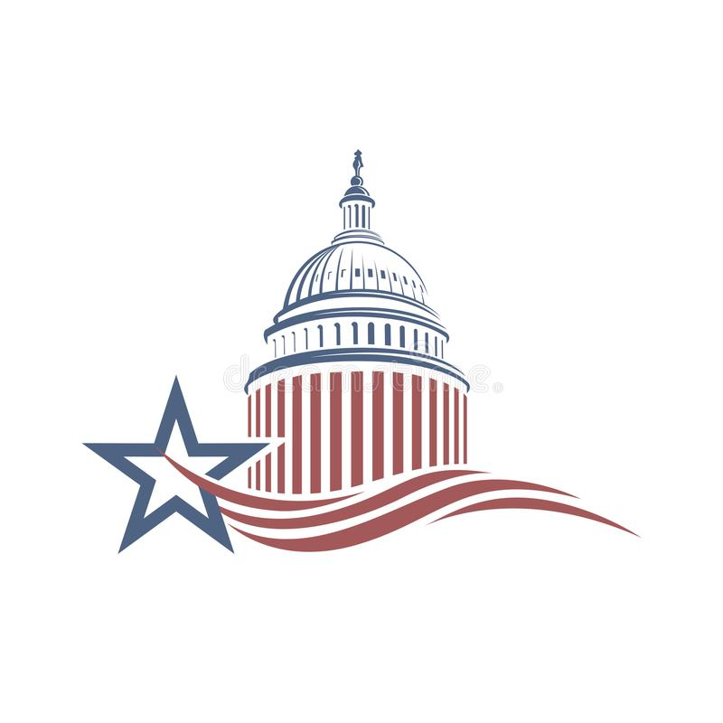 Capitol building icon. United States Capitol building icon in Washington DC vector illustration