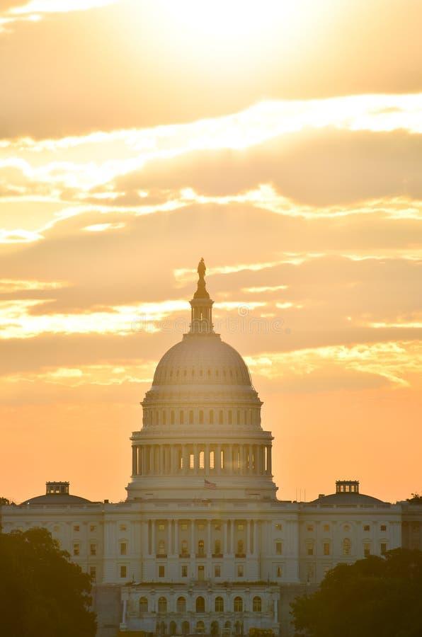 United States Capitol building silhouette at sunrise, Washington DC stock photos