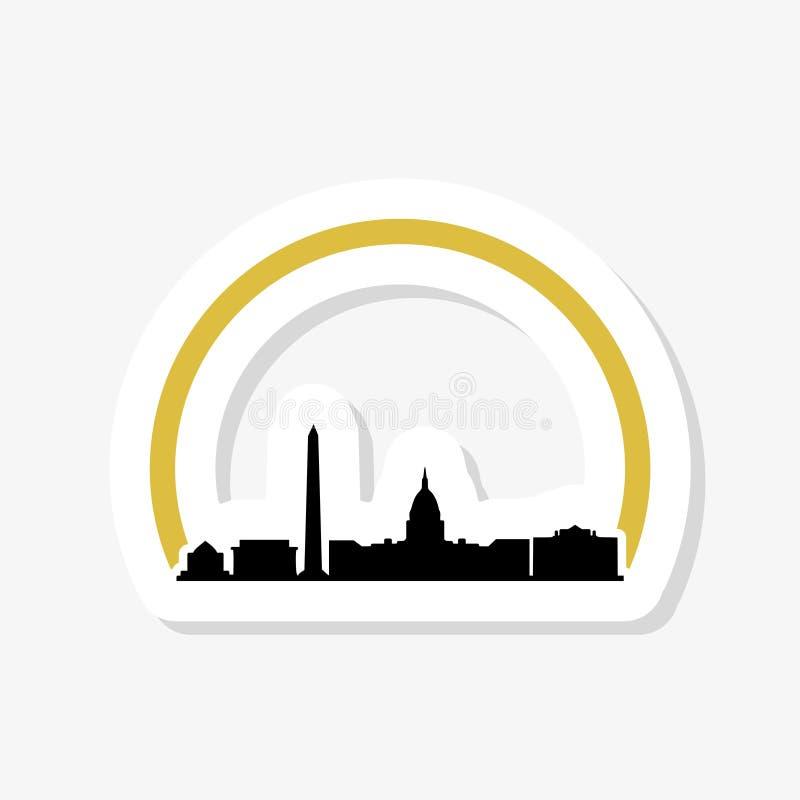 United States Capitol building sticker icon in Washington DC stock illustration