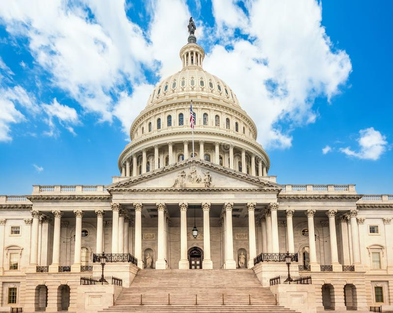 United States Capitol Building in Washington DC - East Facade of the famous US landmark. USA stock photo
