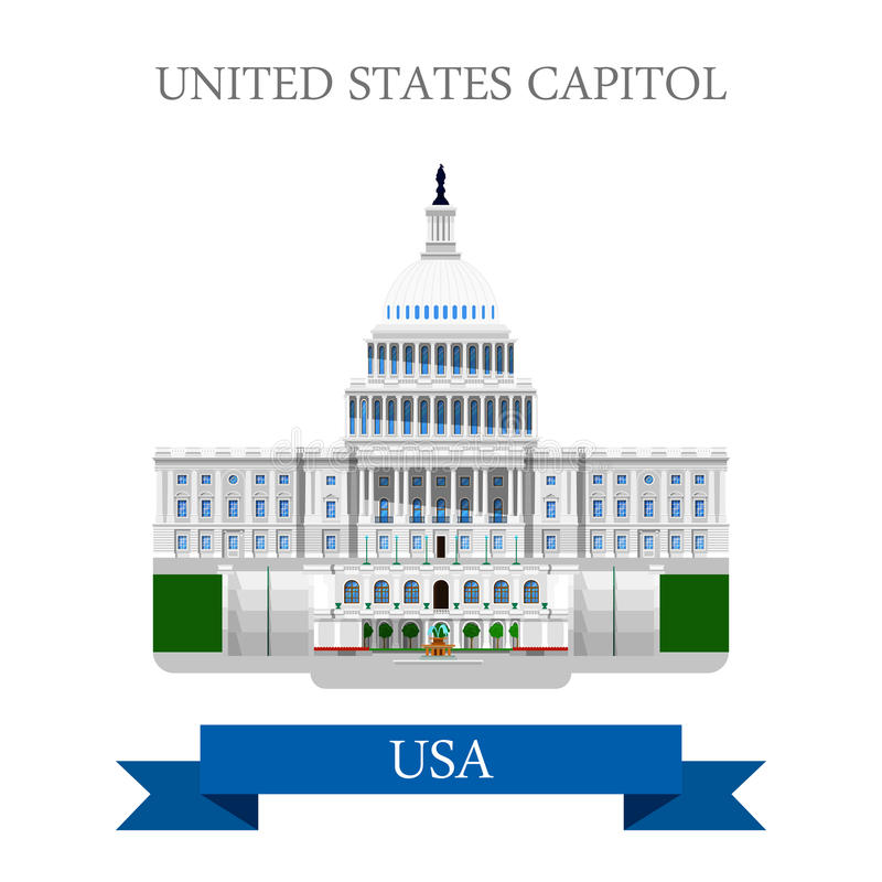 United States Capitol Congress in Washington DC USA vector flat royalty free illustration